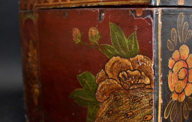 Antique Tibetan Foo Dog Box Hand Painted Box 6 For Sale 8