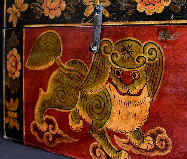 Wood Antique Tibetan Foo Dog Box Hand Painted Box 6 For Sale