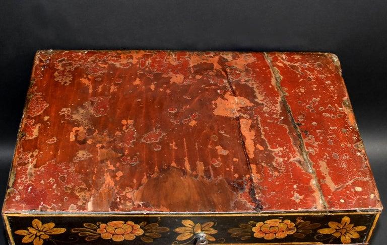 Antique Tibetan Foo Dog Box Hand Painted Box 6 For Sale 1