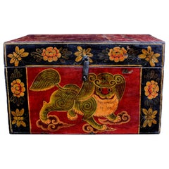 Antique Tibetan Foo Dog Box Hand Painted Box 6