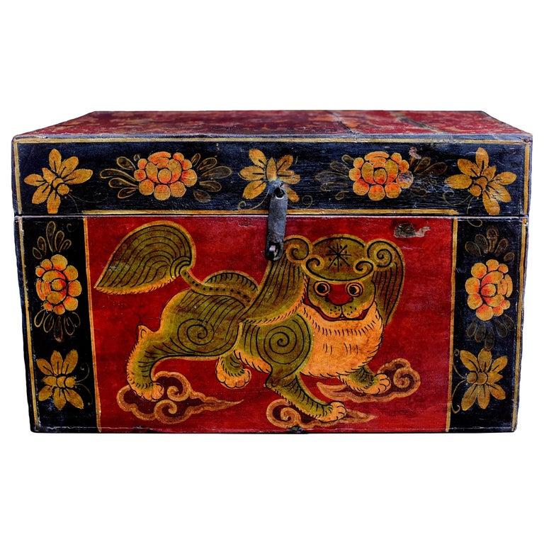 Antique Tibetan Foo Dog Box Hand Painted Box 6 For Sale