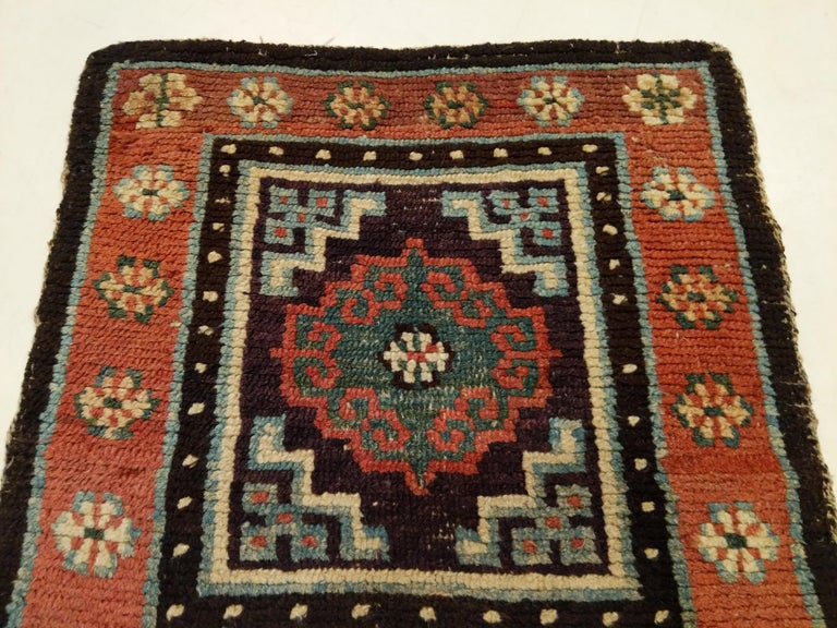 Hand-Knotted Antique Tibetan Meditation Rug