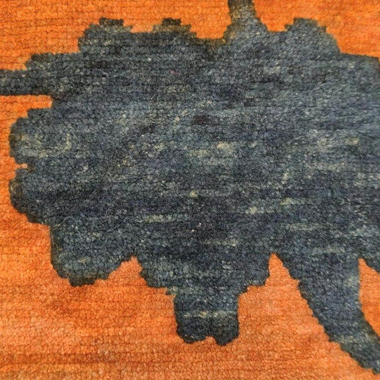 Hand-Knotted Antique Tibetan Meditation Rug with Lotus Flowers in Relief For Sale