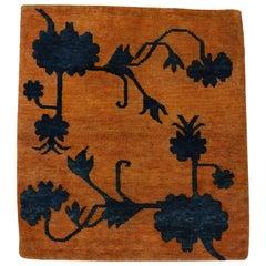 Antique Tibetan Meditation Rug with Lotus Flowers in Relief