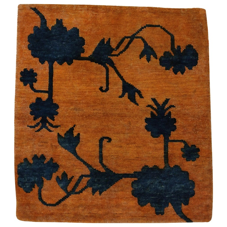Antique Tibetan Meditation Rug with Lotus Flowers in Relief For Sale