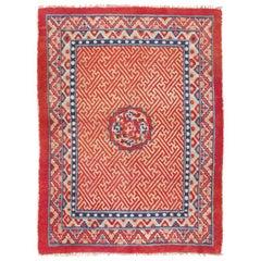 Antique Tibetan Rug. Size: 4 ft 2 in x 5 ft 8 in (1.27 m x 1.73 m)