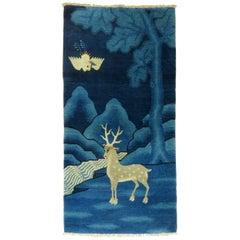 Antique Tibetan Rug with Deer