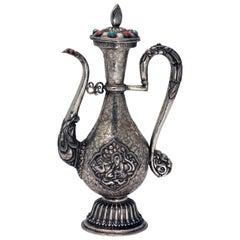 Antique Tibetan Silver Ceremonial Ewer