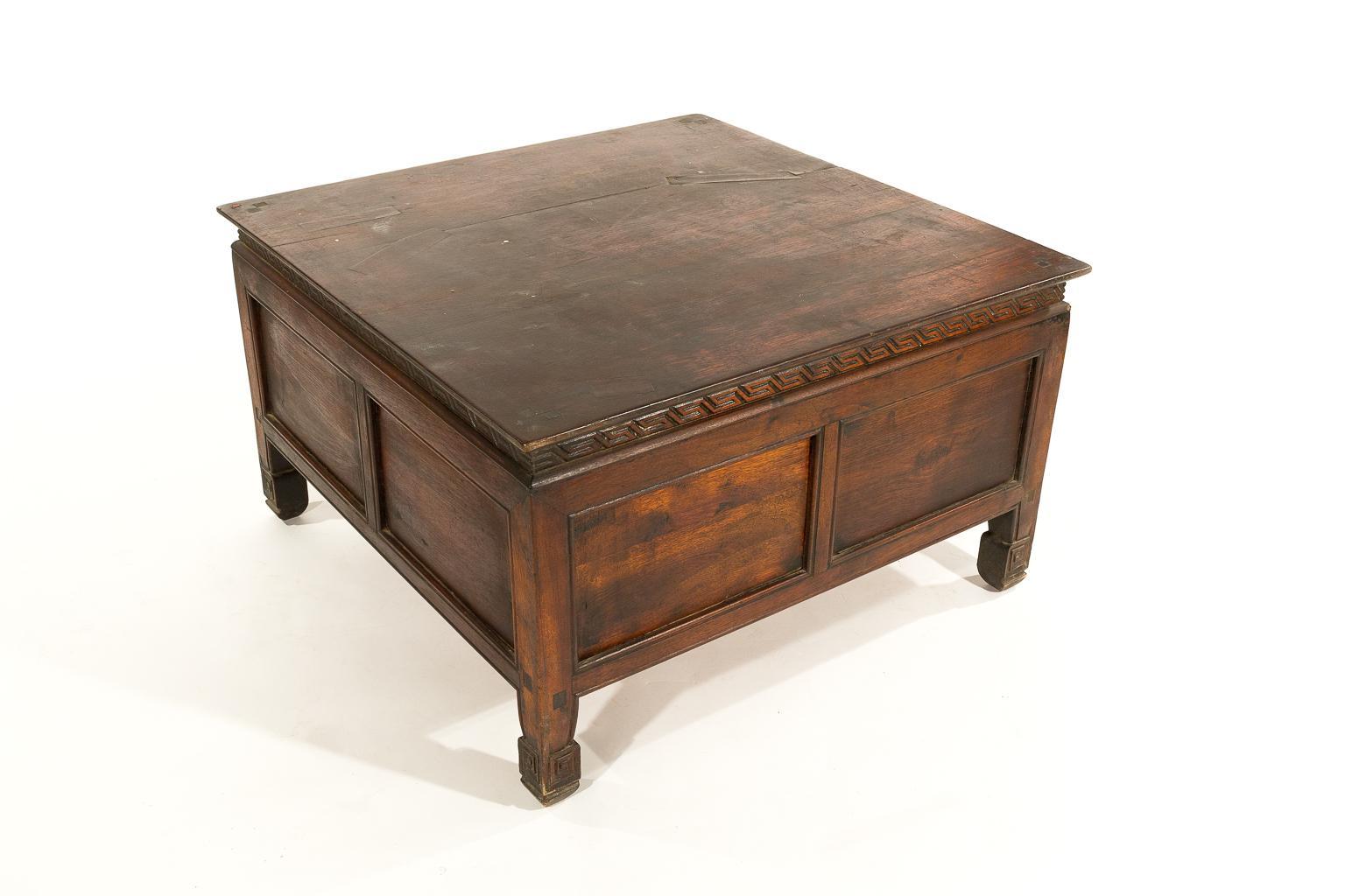 Antique Tibetan Square Tea Or Coffee Table With Storage