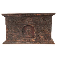 Antique Tibetan Style Religious Storage Box from Bhutan, 19th Century or Earlier