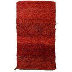 Antique Tibetan Wangden Rug with Red Open Field