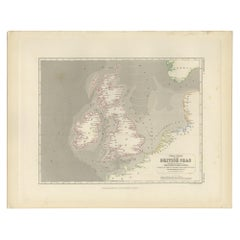 Antique Tidal Chart of the British Seas by Johnston, '1850'