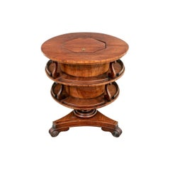 Antique Tiered Burled Mahogany Rotating Center Table with Cellerette