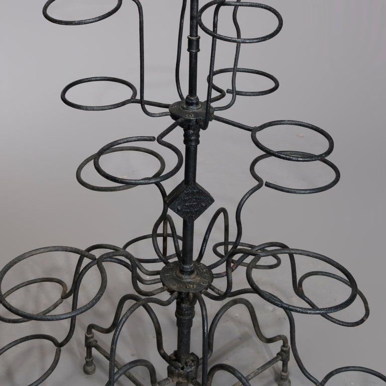 Late Victorian Antique Tiered Wrought Iron Patio Garden Plant Display Stand, circa 1890 For Sale