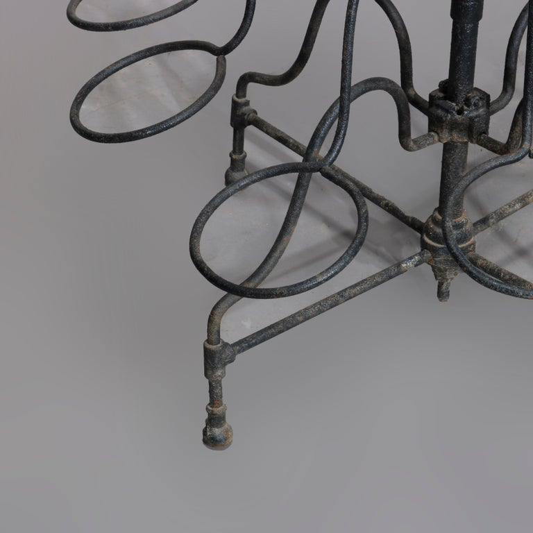 Antique Tiered Wrought Iron Patio Garden Plant Display Stand, circa 1890 In Good Condition For Sale In Big Flats, NY