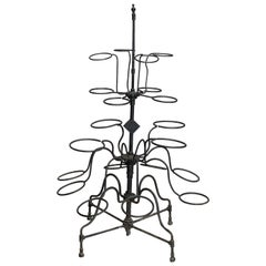 Antique Tiered Wrought Iron Patio Garden Plant Display Stand, circa 1890