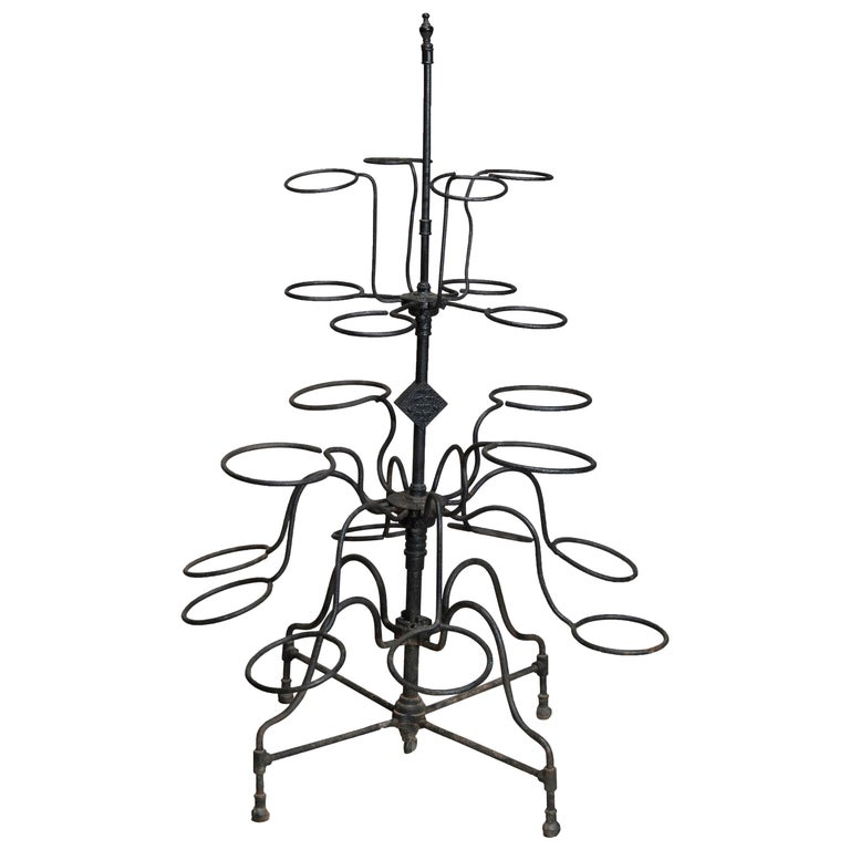Antique Tiered Wrought Iron Patio Garden Plant Display Stand, circa 1890 For Sale