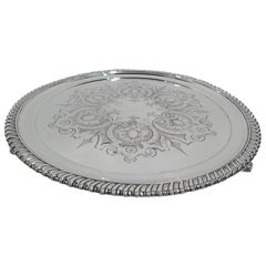 Antique Tiffany Aesthetic Classical Sterling Silver Salver Tray