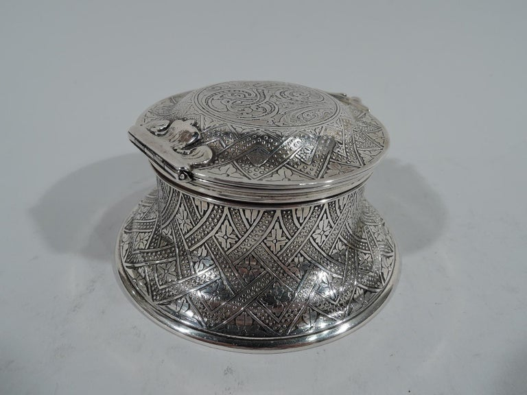 Aesthetic Movement Antique Tiffany American Aesthetic Sterling Silver Inkwell For Sale