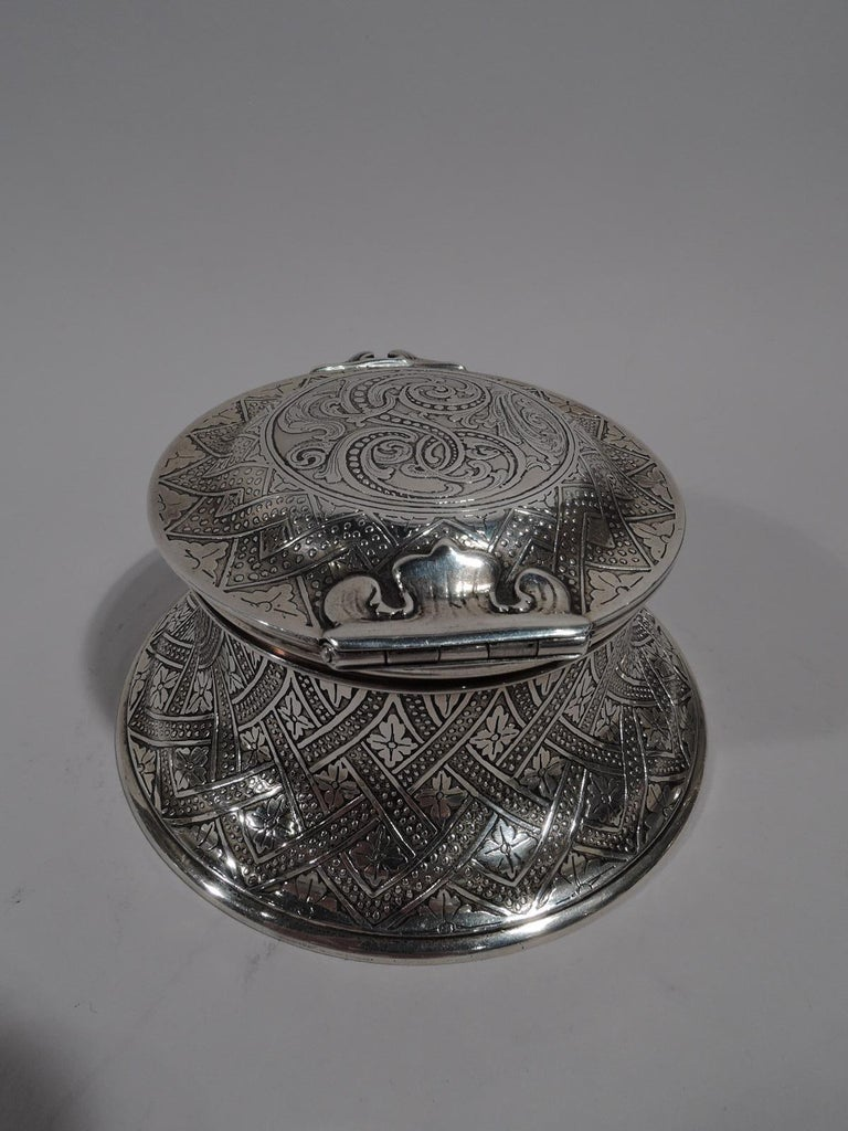 North American Antique Tiffany American Aesthetic Sterling Silver Inkwell For Sale