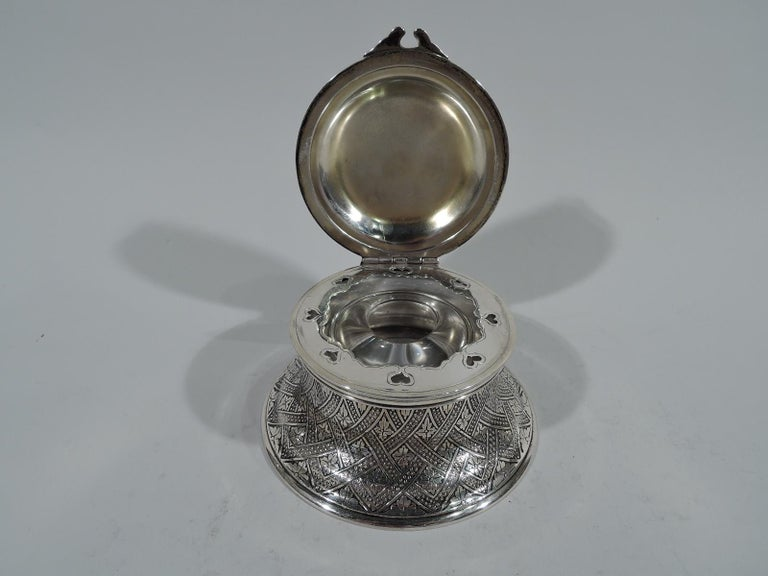 Antique Tiffany American Aesthetic Sterling Silver Inkwell For Sale 1