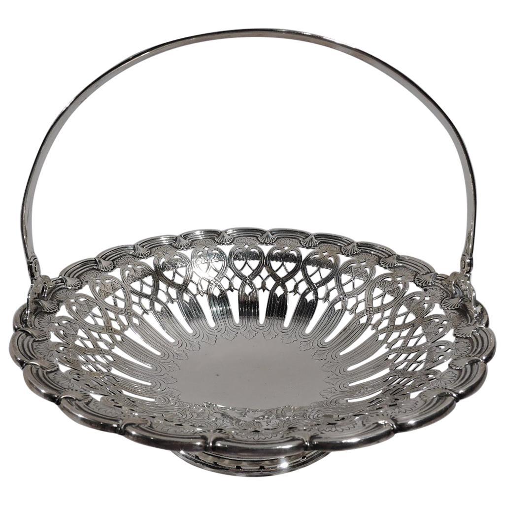 Antique Tiffany American Edwardian Art Nouveau Sterling Silver Basket