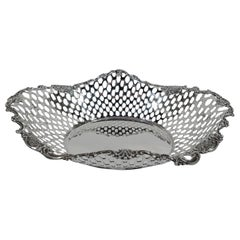 Antique Tiffany American Edwardian Sterling Silver Basket Bowl