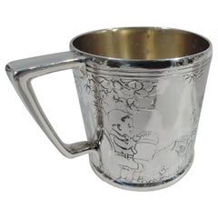 Antique Tiffany Art Deco Sterling Silver Baby Cup with Child Gardeners