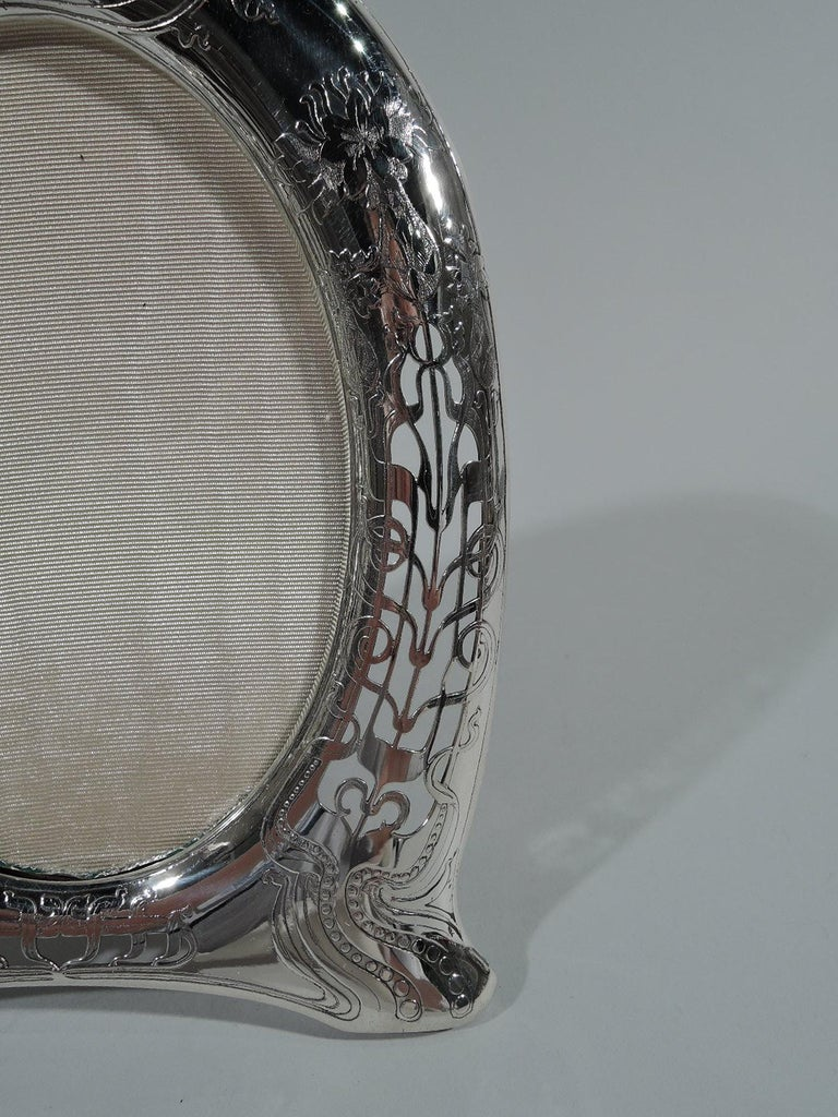 19th Century Antique Tiffany Art Nouveau Pierced Sterling Silver Picture Frame For Sale