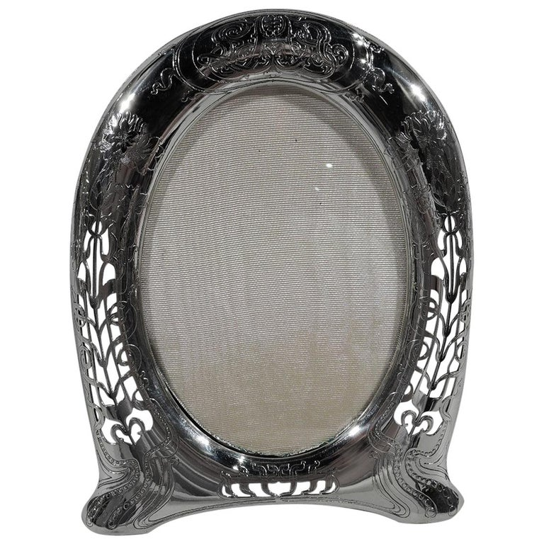 Antique Tiffany Art Nouveau Pierced Sterling Silver Picture Frame For Sale