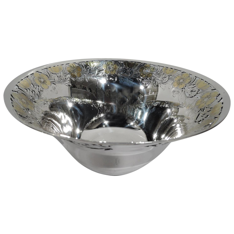 Antique Tiffany Art Nouveau Sterling Silver Bowl with Gilt Flowers