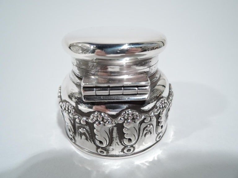 American Antique Tiffany Art Nouveau Sterling Silver Traveling Inkwell For Sale
