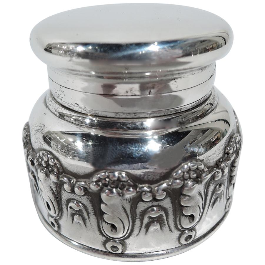 Antique Tiffany Art Nouveau Sterling Silver Traveling Inkwell
