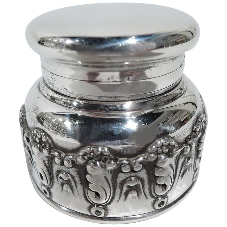 Antique Tiffany Art Nouveau Sterling Silver Traveling Inkwell For Sale