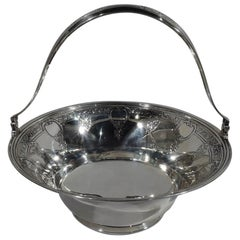 Antique Tiffany Classical Sterling Silver Basket Bowl