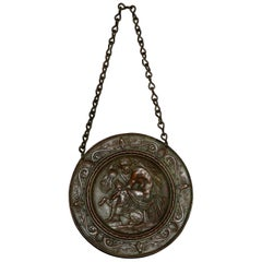 Antique Tiffany & Co Classical Bronze Man and Lioness Pictorial Wall Plaque