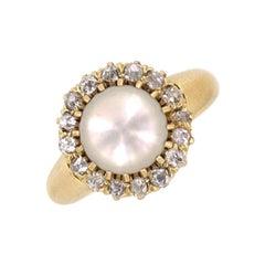 Antique Tiffany & Co. Company Diamond Natural Pearl 18 Karat Yellow Gold Ring