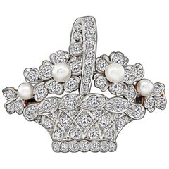 Antique Tiffany & Co. Diamond Pearl Basket Pin