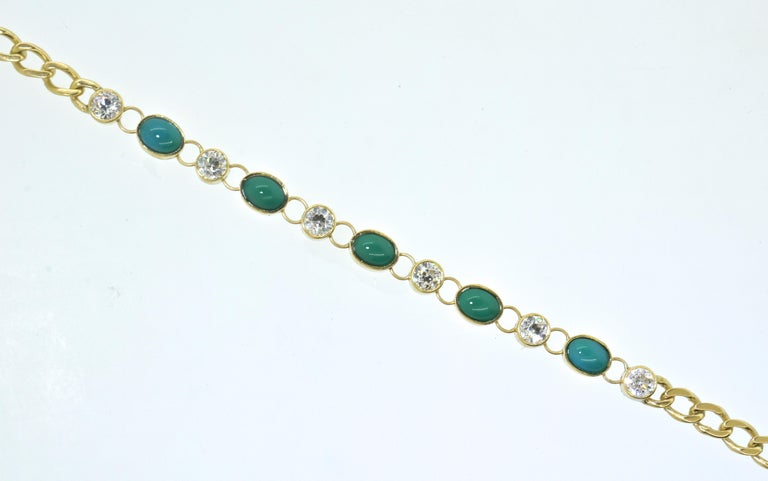 Victorian Antique Tiffany & Co. Gold, Diamond and Turquoise Bracelet, circa 1900 For Sale