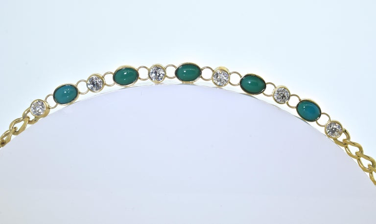 Old European Cut Antique Tiffany & Co. Gold, Diamond and Turquoise Bracelet, circa 1900 For Sale