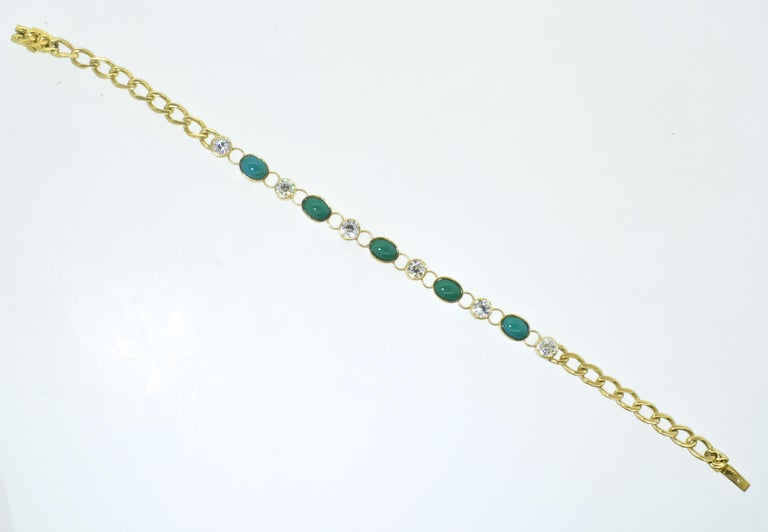Antique Tiffany & Co. Gold, Diamond and Turquoise Bracelet, circa 1900 In Excellent Condition For Sale In Aspen, CO