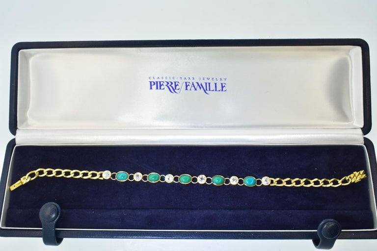 Women's or Men's Antique Tiffany & Co. Gold, Diamond and Turquoise Bracelet, circa 1900 For Sale