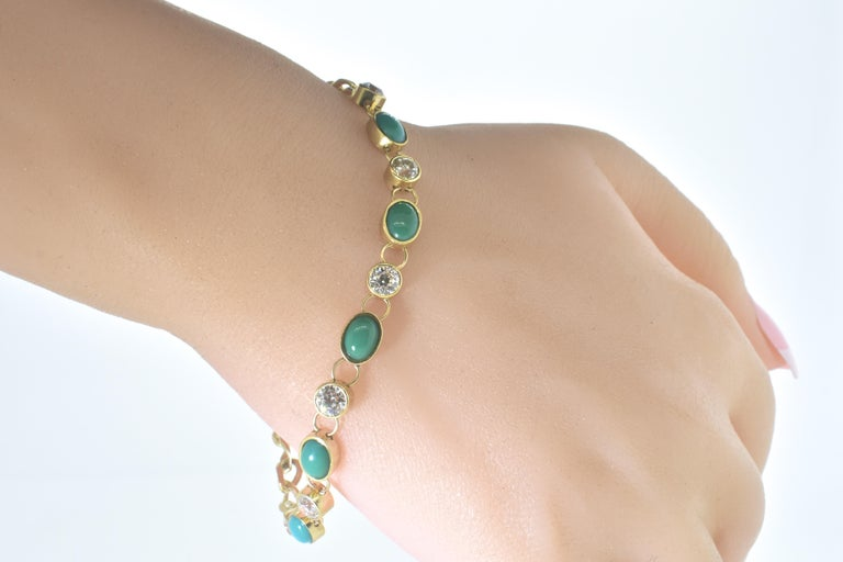 Antique Tiffany & Co. Gold, Diamond and Turquoise Bracelet, circa 1900 For Sale 1