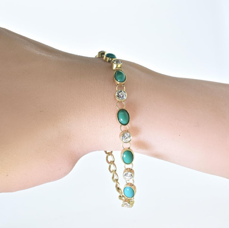 Antique Tiffany & Co. Gold, Diamond and Turquoise Bracelet, circa 1900 For Sale 3