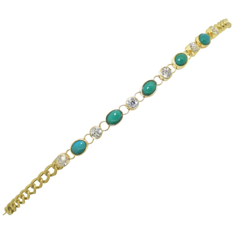 Antique Tiffany & Co. Gold, Diamond and Turquoise Bracelet, circa 1900 For Sale