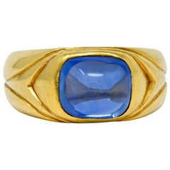 Antique Tiffany & Co. Kashmir Sapphire Cabochon 18 Karat Gold Unisex Band Ring