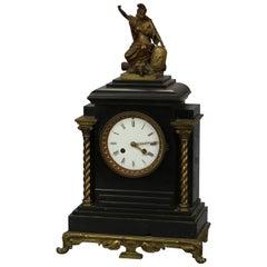Antique Tiffany & Co. Neoclassical Bronze & Slate Mantel Clock, Circa 1880