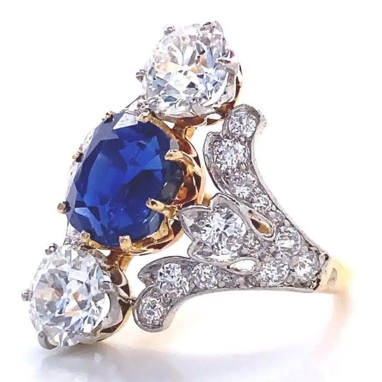 Art Deco Antique Tiffany & Co. 4.33 Carat Kashmir Sapphire No Heat Diamond Gold Ring For Sale