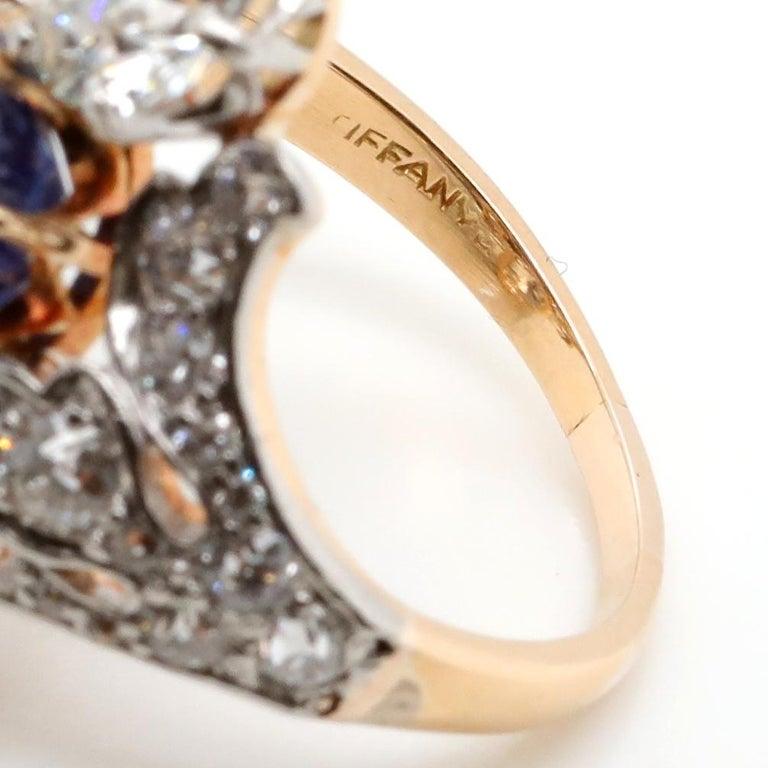Women's Antique Tiffany & Co. 4.33 Carat Kashmir Sapphire No Heat Diamond Gold Ring For Sale