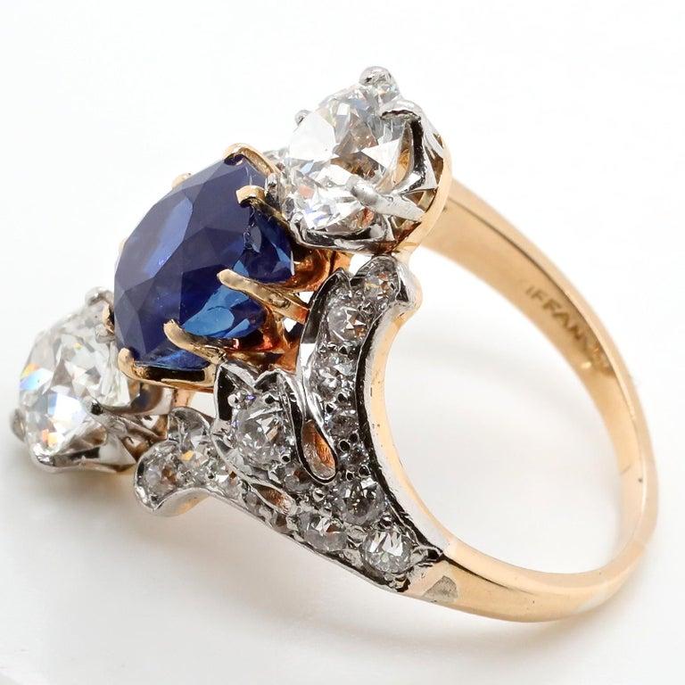 Antique Tiffany & Co. 4.33 Carat Kashmir Sapphire No Heat Diamond Gold Ring For Sale 1